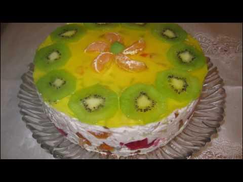 """Торт """"Битое стекло"""" с бисквитом и фруктами"""