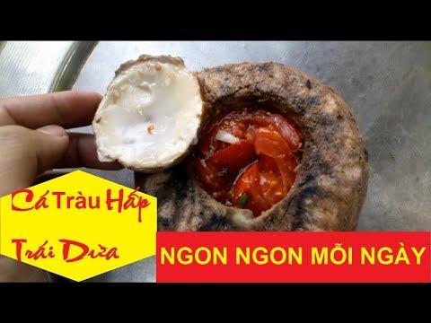 Cái kết món cá tràu đồng hấp trong trái dừa