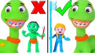 Kids Wash Baby Dinosaur's Teeth ❤ Cartoons For Kids