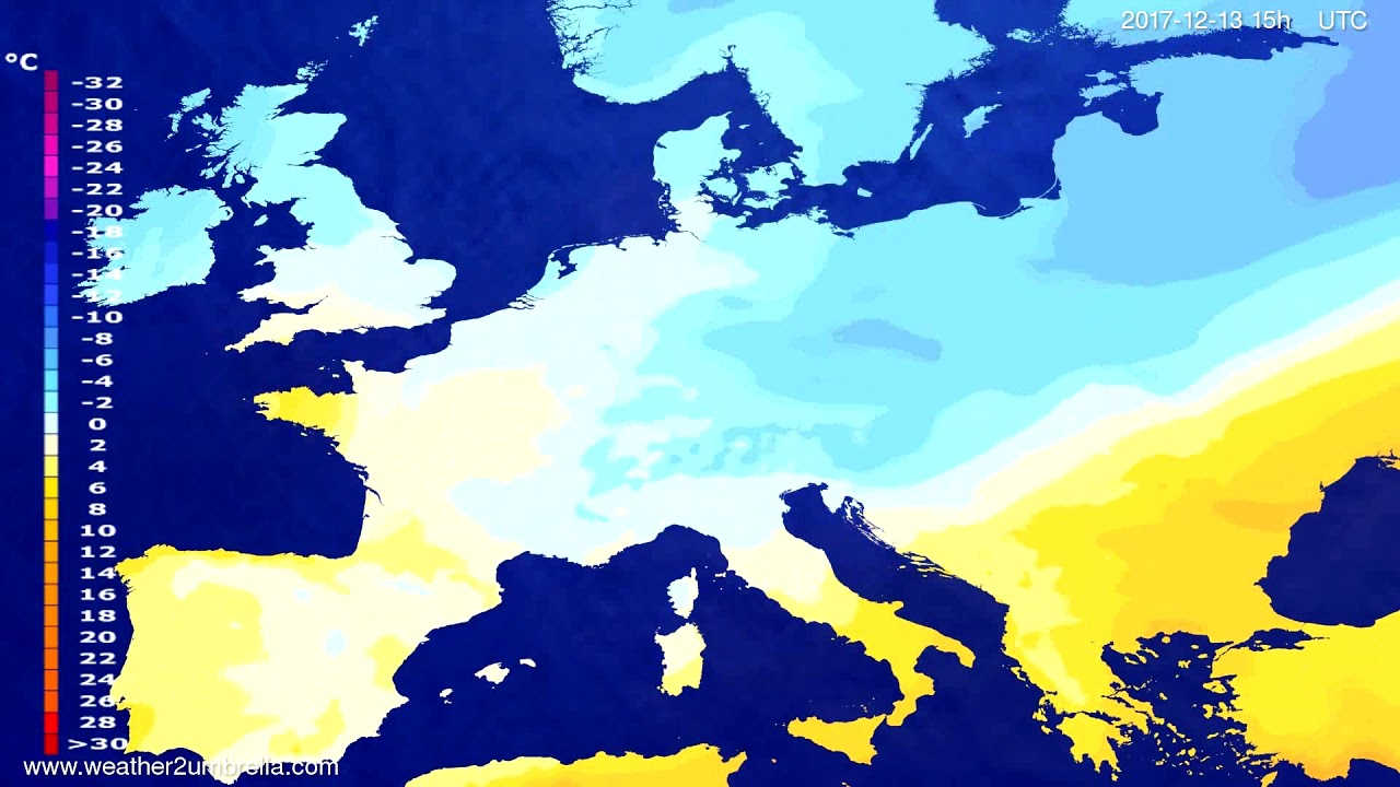 Temperature forecast Europe 2017-12-10
