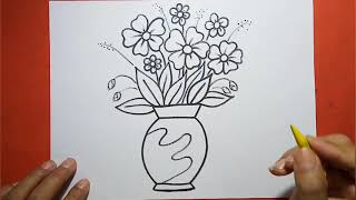 Easy And Simple Flower Vase Drawing.