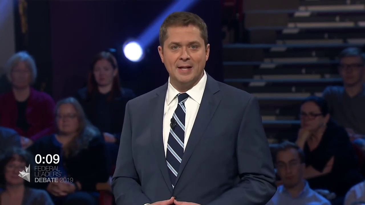 Andrew Scheer answers a question about Canada on the world stage