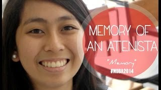 """A woman smiling and facing the camera, with the words """"Memory of an Atenista"""" overlaid."""