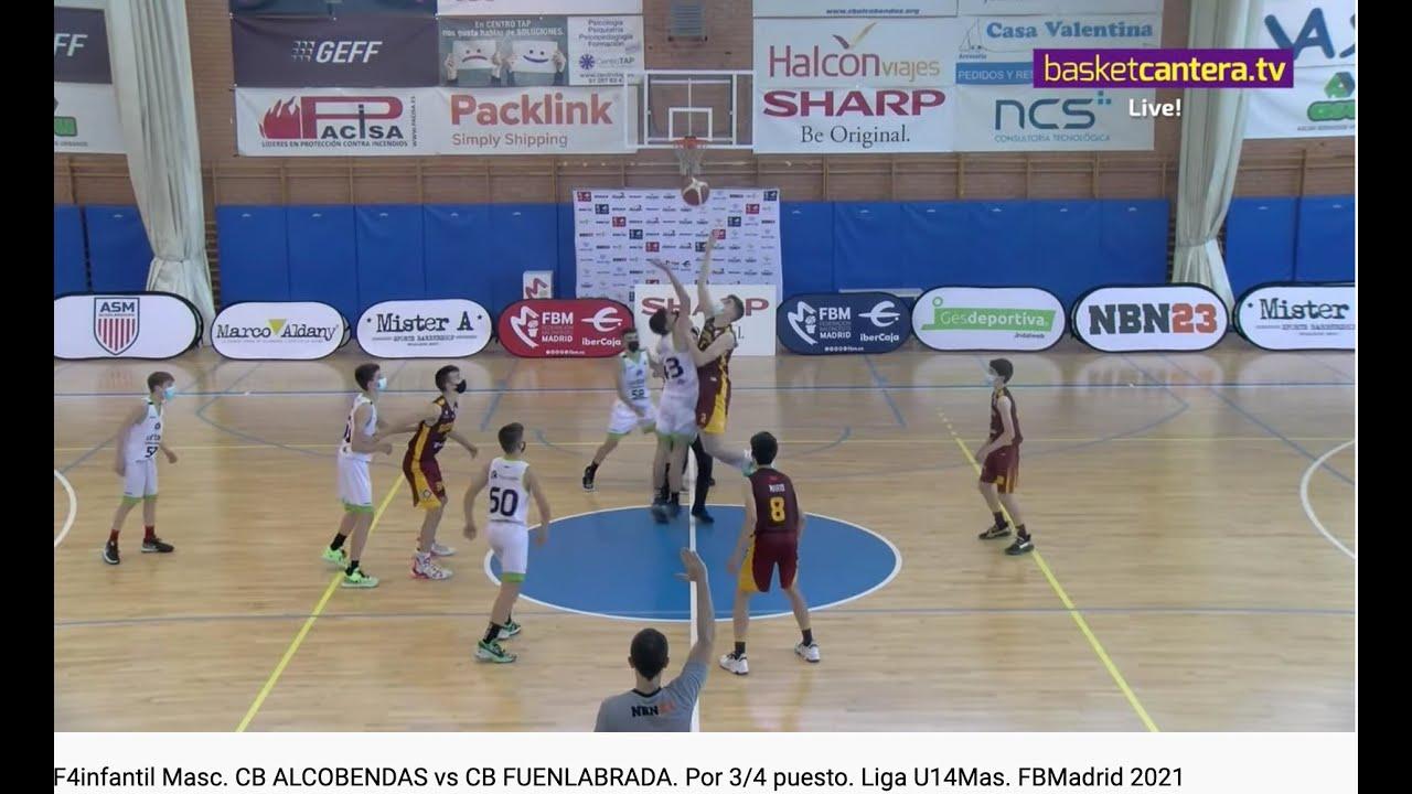 F4infantil Masc. CB ALCOBENDAS vs CB FUENLABRADA. Por 3/4 puesto. Liga U14Mas. FBMadrid 2021 #BasketCantera.TV