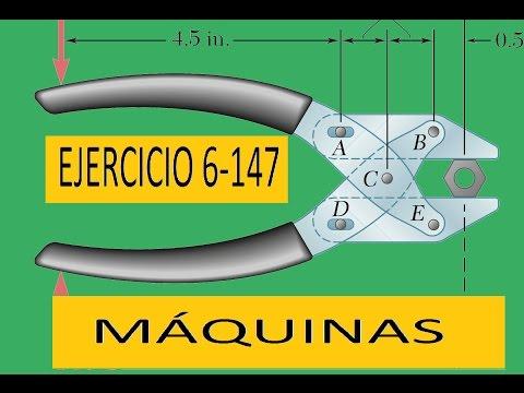 Estática: Ejemplo de calculo de  fuerzas en Maquinas; ejercicio 6-147 Beer and Jhonston