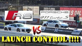 HOW LONG CAN U LAUNCH CONTROL - Porsche 991.1 Turbo S vs R8 V10 PLUS - Road Test®