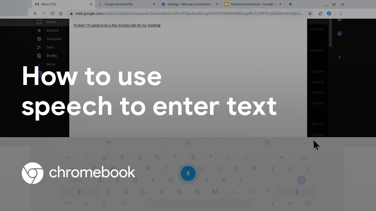 Learn the different ways to use voice to enter text on your Chromebook. In this video, we cover how to use the dictation feature available in Chromebook accessibility settings, using speech within the on-screen keyboard, and leveraging Google Docs Voice Typing.