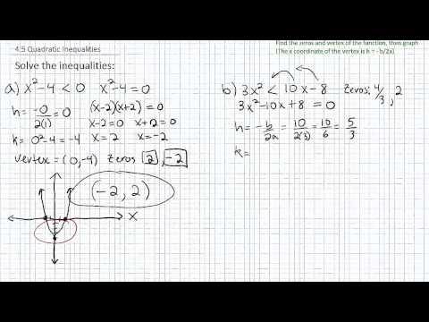 4.4 Solving Quadratic Inequalities