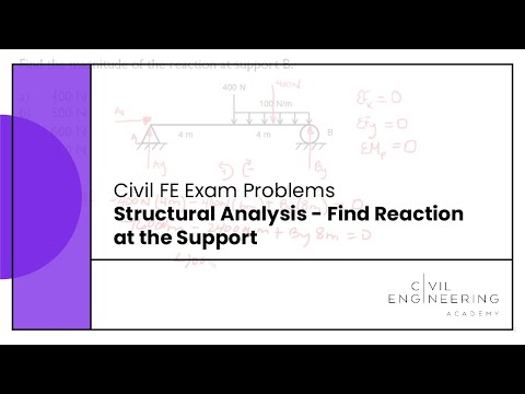 Civil FE Exam - Structural Analysis - Find Reaction at the Support ...