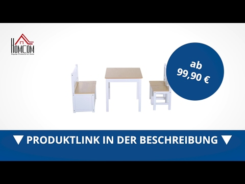 Homcom 4-tlg. Kindersitzgruppe Kindertisch Kinderstuhl Holz - direkt kaufen! - Aosom.de