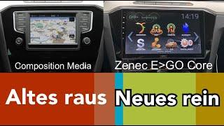 Nachrüstung 10 Zoll Androidradio Navi DAB+ Zenec Ego Core für VW Passat B8 Golf 7 Tiguan Polo 6C 6R