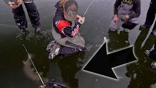 GIANT FISH IN ULTRA CLEAR ICE! (early Ice Fishing 2019)