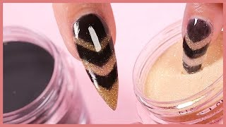 Easy Dip Powder Nail Art Tutorial | Gold & Black Chevron Stripes Design