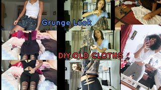 DIY (CUTTING AND BLEACHING OLD CLOTHS) GRUNGE LOOK #diycloth #grungelook