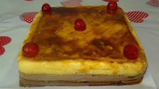 TARTA DE FLAN CON GALLETAS Y CHOCOLATE | RECETA FÁCIL