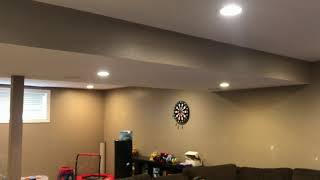 The Finished Basement Ceiling Finished Drywall, Knockdown Ceiling, And Paint