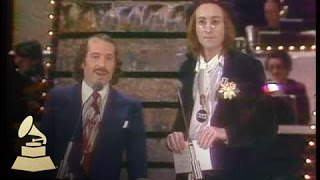 17th GRAMMYs: Paul Simon and John Lennon co-presenting the GRAMMY for Record Of The Year | GRAMMYs - dooclip.me