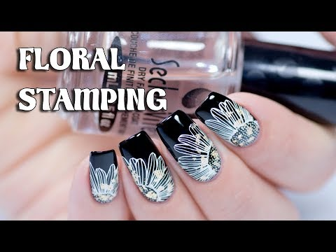 BLACK & WHITE NAILS | Floral Stamping with Golden Leaf