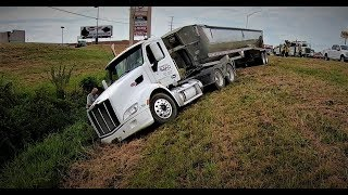 Code 3 Semi Crash!!!  Semi Loaded with Sand Takes the Ditch!!!