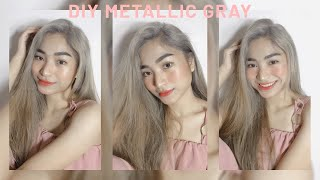 DIY METALLIC GRAY HAIR COLOR AT HOME | AFFORDABLE BLEACH AND DYE