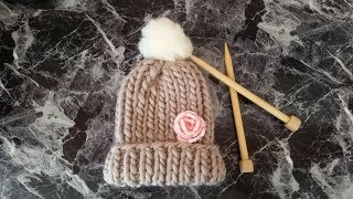 DIY Knit Chunky Hat (Fast & Easy)