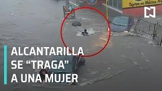 Mujer es tragada por alcantarilla en Culiacán (México)