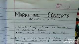 Marketing Conceps/Orientation of Firm (In short)