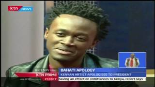 KTN Prime 13th September 2016: Kenyan singer Bahati apologises to the president sitting on his chair