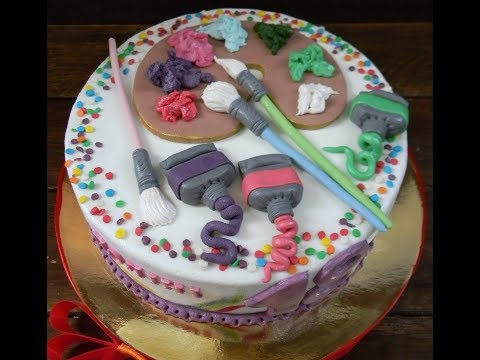 Идея торта для художника. Палитра цветов из мастики