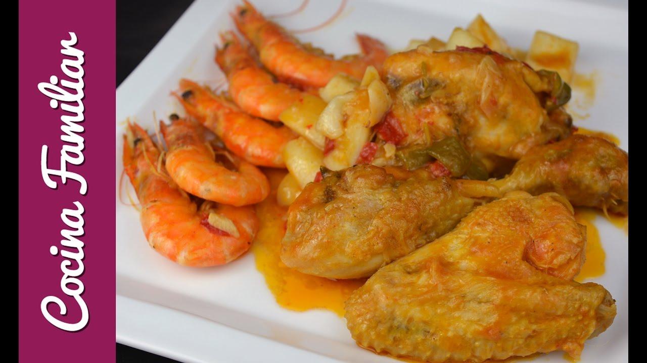 Pollo de corral con sepia y langostinos | Javier Romero