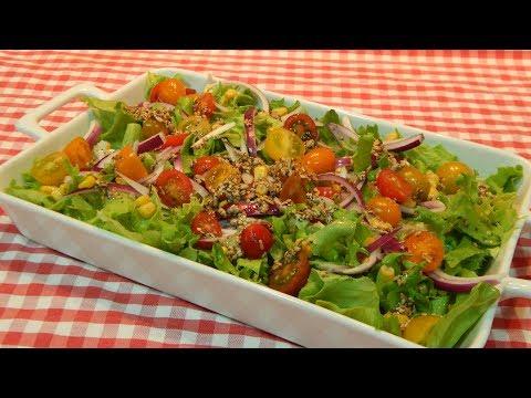 Ensalada con vinagreta de semillas / Receta fácil y rápida
