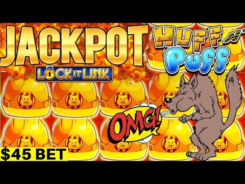 ✦2 HANDPAY JACKPOTS✦ On High Limit Huff N Puff Slot Machine - $45 BET | High Limit Slot In Las Vegas
