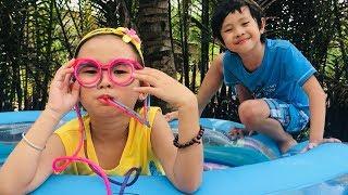 Stin Dâu & Chiếc Mắt Kính Ngộ Nghĩnh (^_^)Hai Anh Em Làm Hồ Bơi Gấu Bông