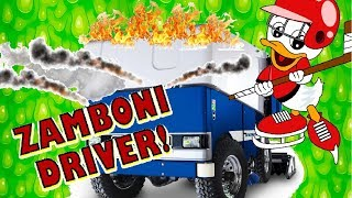 Zamboni Driver lets Wyatt Duck Drive & Dump Ice- Learn about the Part of the Zamboni Fun Experience