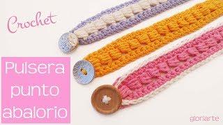 Pulsera De Ganchillo En Punto Abalorio. Crochet Bracelet Bead Point.