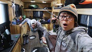 Ice Fishing In Off-Grid CABIN On WHEELS (Walleye Fishing)