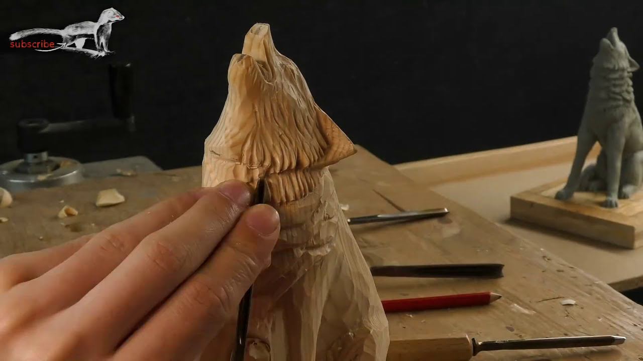 wooden sculpture of howling wolf time lapse by wiesel robot