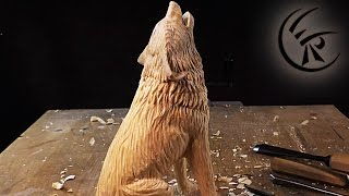 "Woodcarving ""Howling Wolf"" ►► Timelapse"