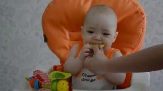 Майя ест лимон первый раз. Ребенок ест лимон первые