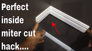 perfect inside miter joint hack - baseboard molding install