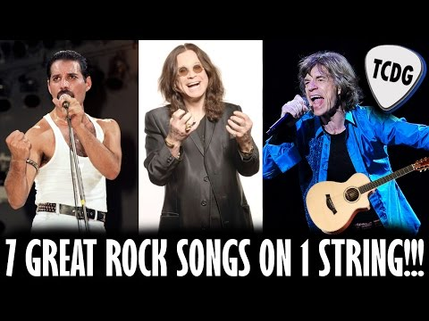 7 Great Rock Songs On 1 String For Acoustic & Electric Guitar! Beginners Lesson TCDG