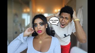 I DID MY MAKEUP TERRIBLY TO SEE HOW MY BOYFRIEND WOULD REACT!!!