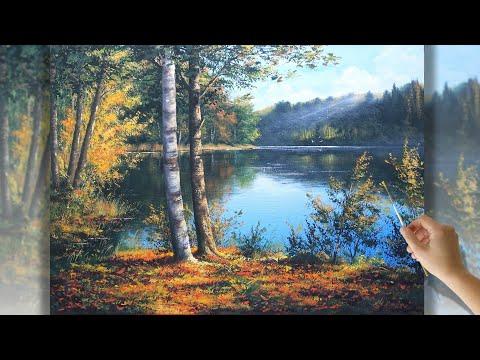 How to paint autumn. Аrtist Maria Yushkevich   Пишем осенний пейзаж акрилом