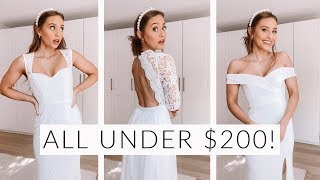 TRYING ON 5 WEDDING DRESSES UNDER $200 | Lulus Bridal