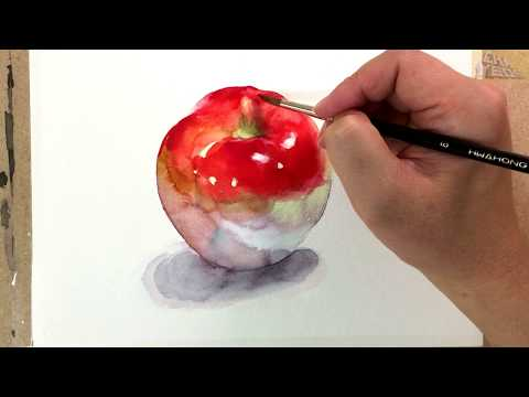 realistic watercolor painting of apple by cha yeon