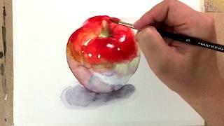 Watercolor Painting Tutorial - Apple