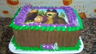 decorar bolo bico será 2B papel arroz  masha e o urso   j.o confeitaria