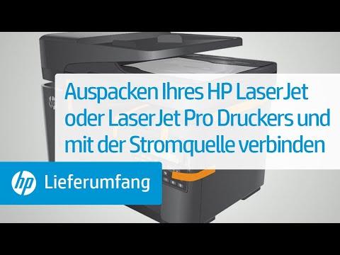Auspacken und Anschließen Ihres HP LaserJet-Druckers an die Stromversorgung