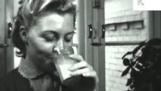 1950s Woman Drinks Milk and Smiles, Archive Footage