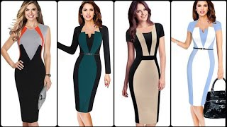 Classy And Casual Color Block Bodycon /Sheath Dresses//Office Work Outfits